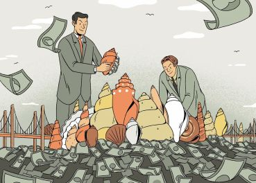 An illustration of two men moving around shells, with money coming out.