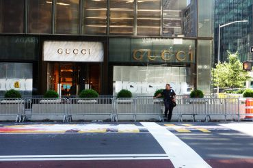 Gucci opted to extend the lease for its 50,000-square-foot Trump Tower flagship store despite Trump's increasingly toxic brand. This image, taken in the summer of 2020, shows a Black Lives Matter mural painted in front of the building, which took on a symbolic status during Trump's presidency.