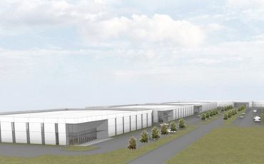 Rendering for planned industrial park in Austin.