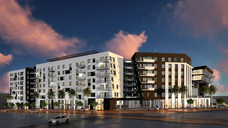 A rendering for The Rise multifamily complex set to open in Hollywood.