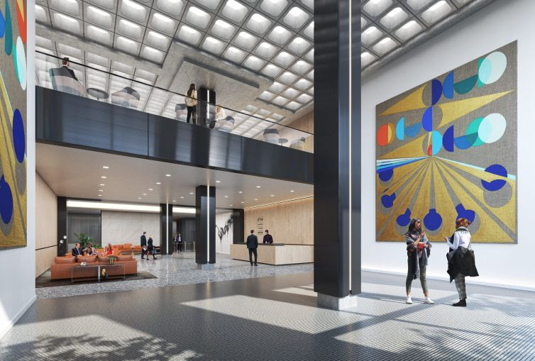 Gensler designed a new double-height lobby with large abstract paintings on the walls at 730 Third Avenue.