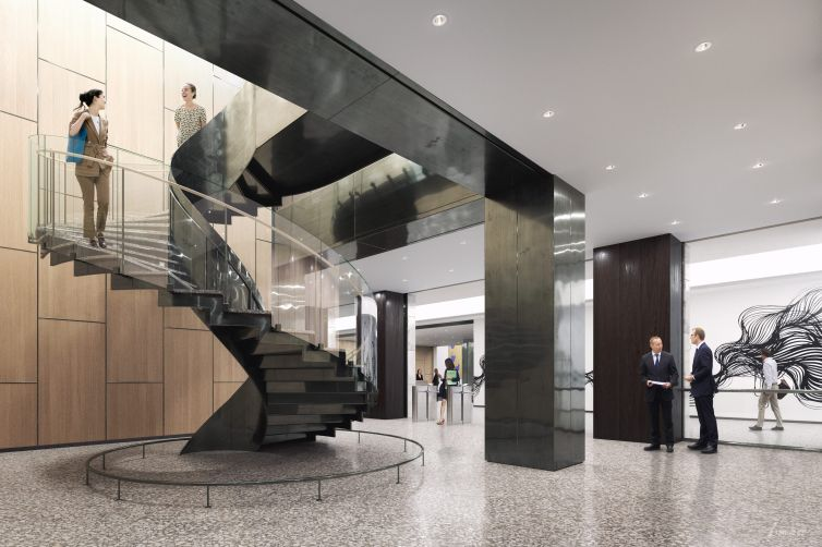 The new lobby also includes a polished black spiral staircase connecting the first two floors.