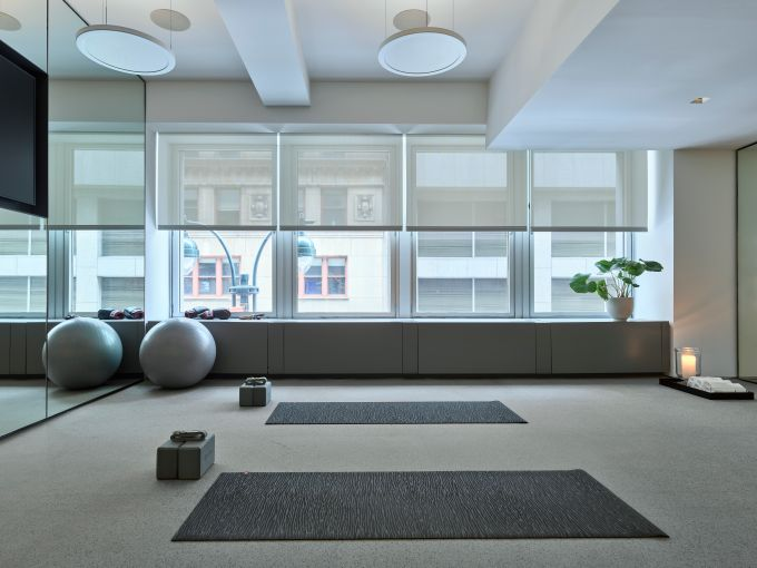 The one-on-one training studio could also be used for meditation or small gorup fitness classes.