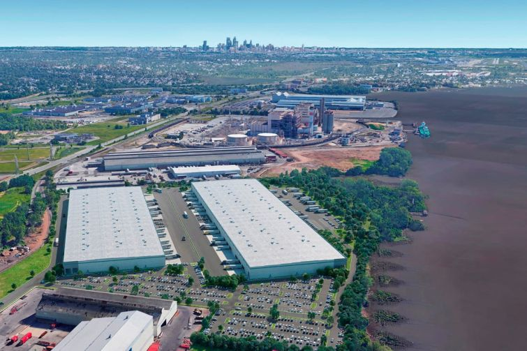 A rendering of the planned Delco Logistics Center in suburban Philadelphia Alliance HP is developing.