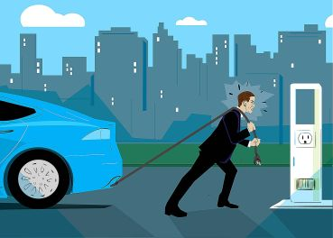 An illustration of a man pulling a car by a cord toward a charging station.