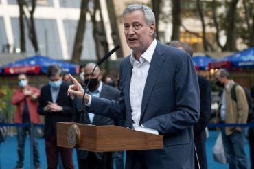 Mayor Bill de Blasio announced a plan to reopen Broadway theaters by September.