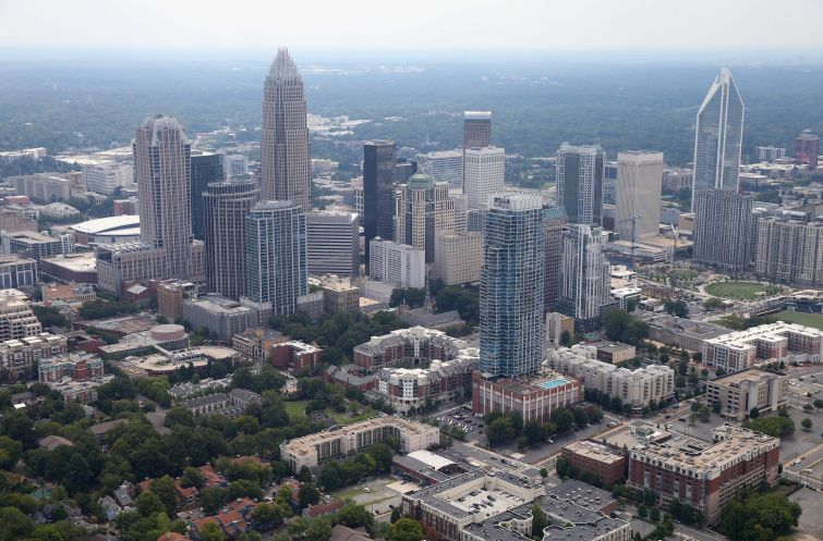 An aerial view of Charlotte, N.C., where nearly half of the properties in this portfolio are located.