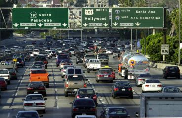 Traffic fills the 110 freeway in Downtown Los Angeles. Out of the total number of people who moved throughout California in 2020, about 80 percent moved to a new location in the state, not out of it.