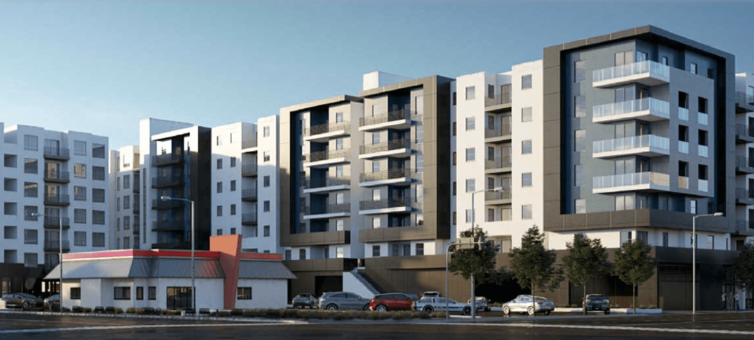 The seven-story development called Lankershim Crossing will rise about 87 feet with a maximum floor area of about 678,330 square feet.