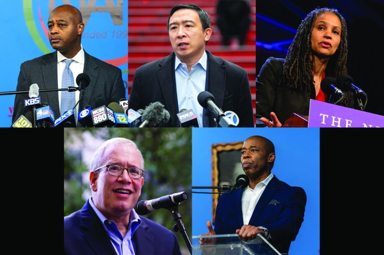 Candidates (clockwise from top left) Ray McGuire, Andrew Yang, Maya Wiley, Eric Adams and Scott Stringer.