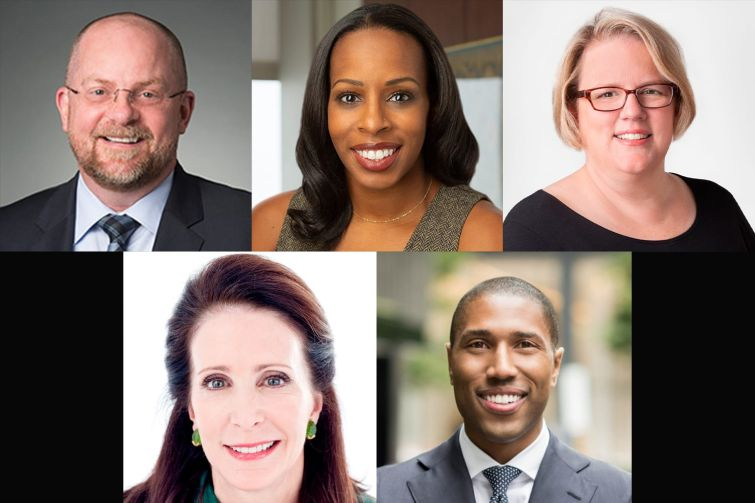 Clockwise from top left: Fried, Frank, Harris, Shriver & Jacobson LLP's Michael Barker, Goldman Sachs' Margaret Anadu, Thor Equities' Melissa Gliatta, JPMorgan Chase's  Chad Tredway and Cushman & Wakefield's Tara Stacom.