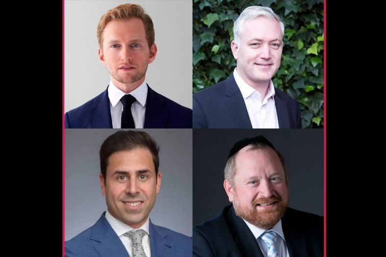 Clockwise from top left, Erik Nygaard with Axonic Capital; Tim Doherty, head of investments with iStar and Safehold; Tzvi Rokeach, partner at Kramer Levin Naftalis & Frankel; Keith Kurland, senior managing director with Walker & Dunlop.