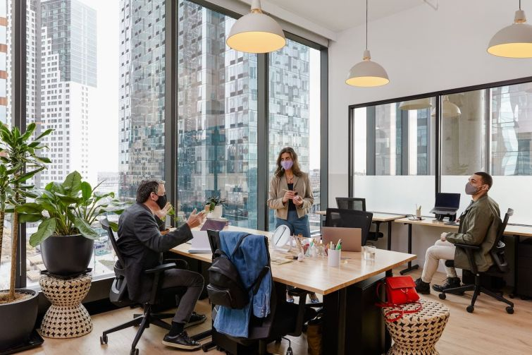 A WeWork space designed with safety in mind.