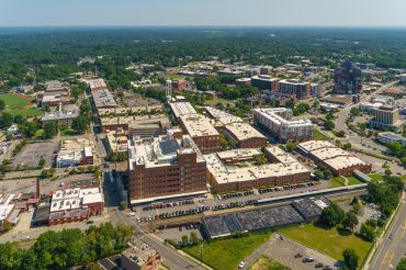 An aerial view of the West Village development in downtown Durham.
