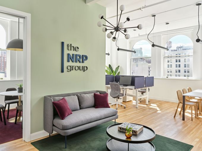 A small reception area by the conference room in NRP Group's new Union Square office.