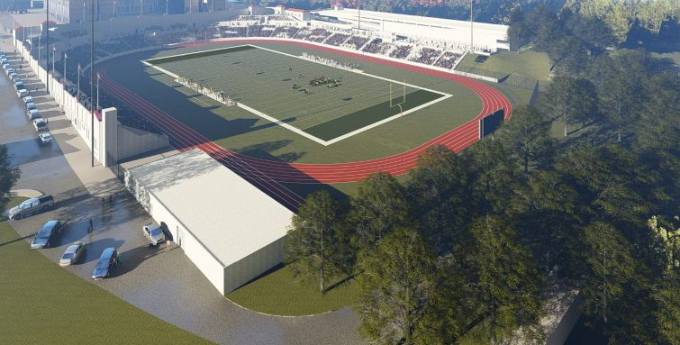 A rendering of a redeveloped Hinchliffe Stadium.