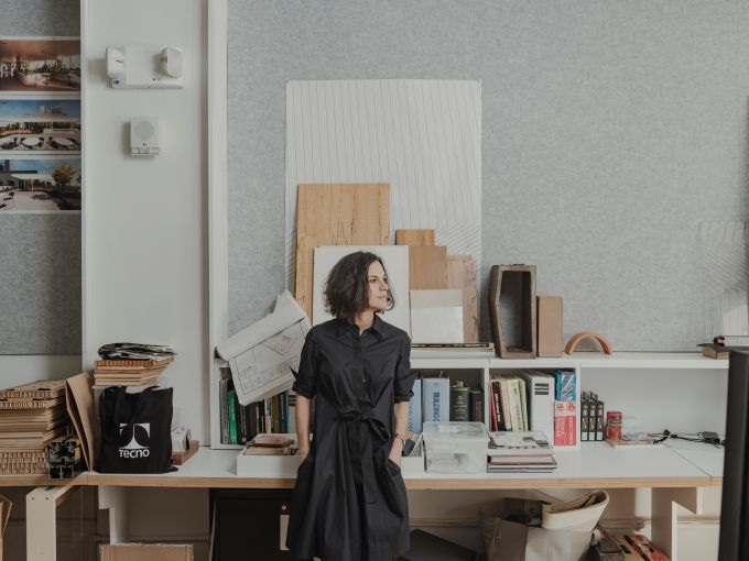 A woman in an office.