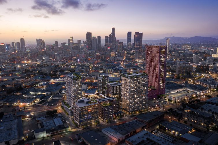 A rendering of Continuum's development in LA's arts district.