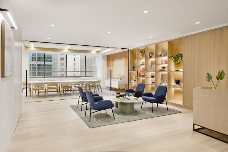 Two new prebuilt office suites at 685 Third Avenue incorporate custom designed white oak shelving, wall paneling and finishes for a midcentury modern vibe.