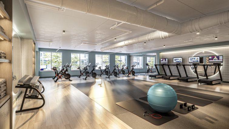 Rendering of Fitness Studio.