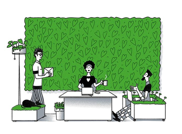 A drawing of people in front of a green wall.