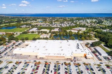 Florida, Saint Cloud, Wal-Mart Supercenter, aerial with parking lot.