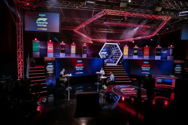 An esports studio during round 3 of the 2020 F1 Esports Pro Series in 2020.