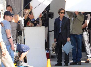 Mark Wahlberg and Jessica Lange on a film set.