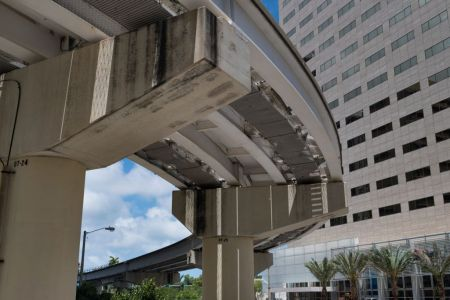 View from below of the Miami Metrorail platform.