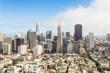 Aerial view of San Francisco's business district.