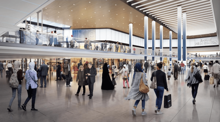 The double-level renovation proposal for Penn Station.