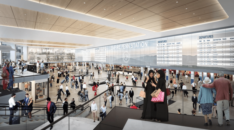 """The """"single-level"""" renovation proposal for Penn Station involves removing a chunk of the station's top level to allow for better passenger access and circulation."""