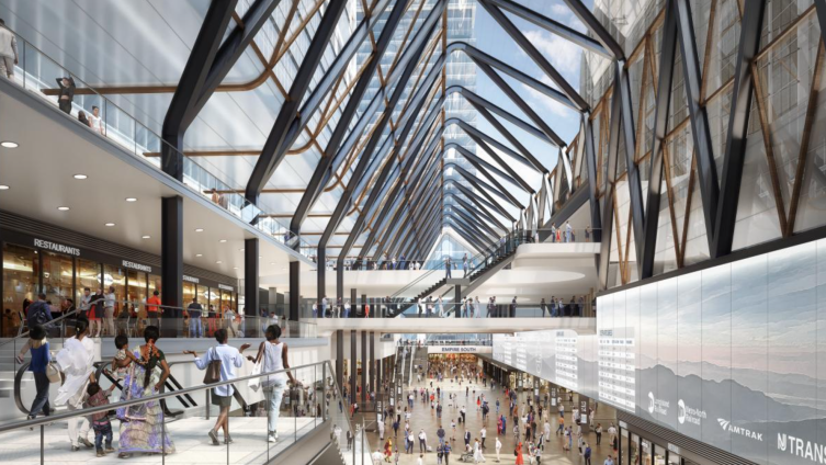 A proposed new train hall could rise in the former taxiway between MSG and 2 Penn Plaza.