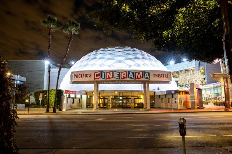 An empty Cinerama Dome of the ArcLight Cinemas on Sunset Boulevard in Hollywood on March 20, 2020.