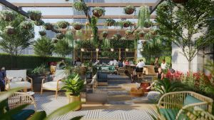 A rendering of the roof of the Trust Building in downtown L.A, covered in plants and calming decor.