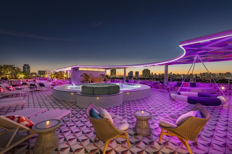 The rooftop at Moxy Miami South Beach.