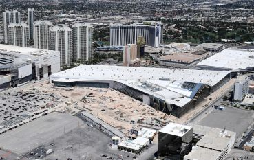 The Las Vegas Convention Center in May 2020. Like much of the nation's industry that services trade shows and conferences, it has been operating at severely reduced capacity since early last year due to the coronavirus pandemic.