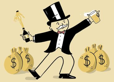 An illustration of a man in a top hat holding a beer and surrounded by bags of money.