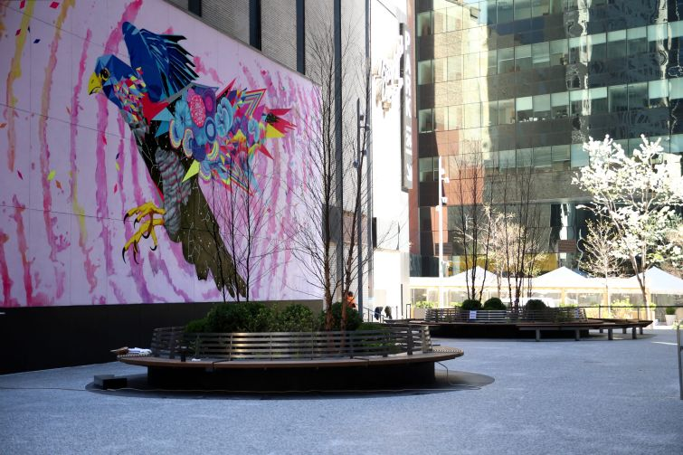 Street artist Vexta painted a mural in Fisher Brothers' privately owned public space next to 1345 Avenue of the Americas.
