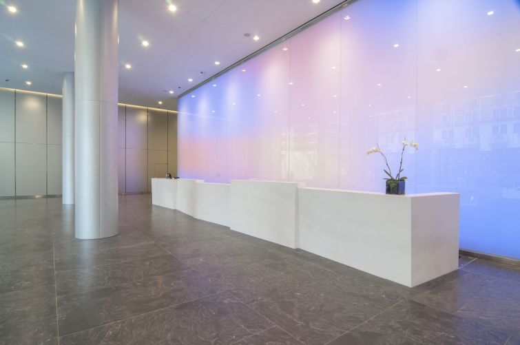 The new lobby includes a color-changing LED wall.