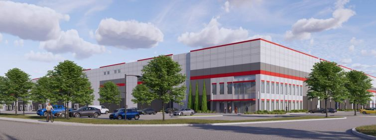 A rendering for a planned DH Property Holdings industrial development in Philadelphia.