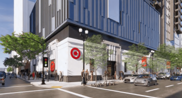 A rendering for the planned Cisterra 9G mixed-use development in San Diego that will feature a Target store.