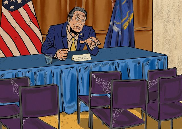 An empty press conference before America's governor.