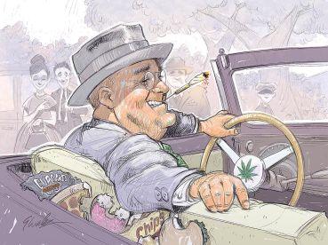 A cartoon of a man smoking a joint.