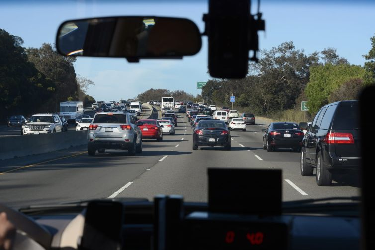 Automobiles crowd the 101 Highway leading into San Francisco.