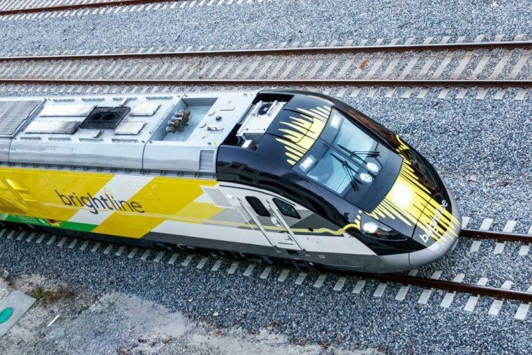 West Palm Beach, Brightline passenger train.