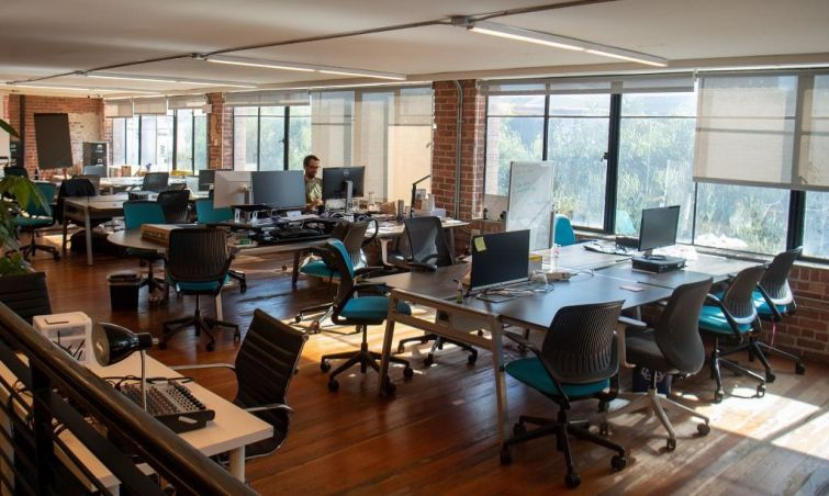 A coworking space, is seen mostly empty in San Francisco, California on March 12, 2020.
