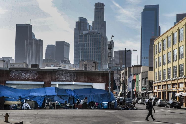 Tents lined up on San Pedro on Skid Row in April 2021.