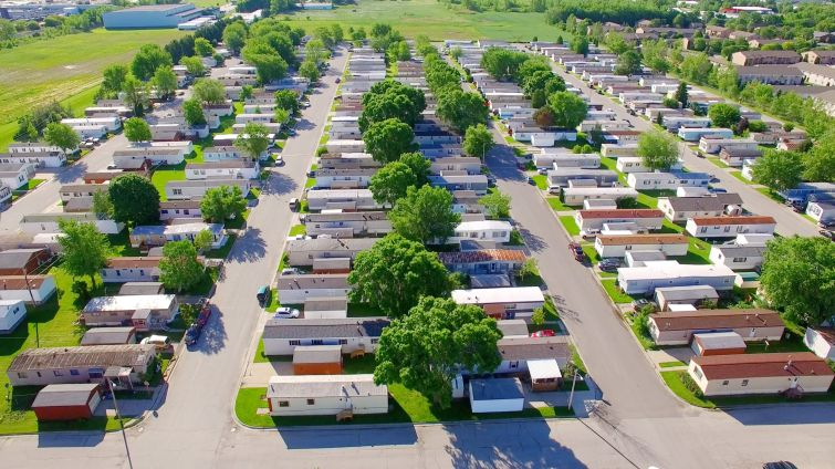 A aerial view of a mobile home park.