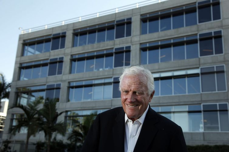 Robert Maguire, who built many of downtown's tallest buildings, photographed at the one of the Water's Edge office buildings